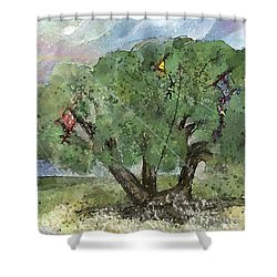 Kite Eating Tree Shower Curtain by Annette Berglund