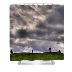 Kite Flying Shower Curtain by David Patterson