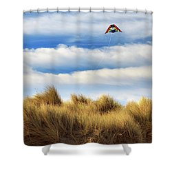 Shower Curtain featuring the photograph Kite Over The Hill by James Eddy