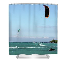 Kite Surfers And Maui Shower Curtain
