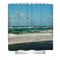 Kite Surfing Shower Curtain by John Wartman