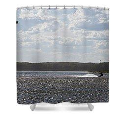 Shower Curtain featuring the photograph Kiteboarding by Miroslava Jurcik