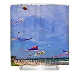 Kites At The Flagler Beach Pier Shower Curtain