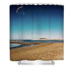 Kitesurf On The Beach Shower Curtain