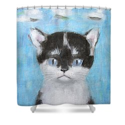 Kitten With Three Clouds Shower Curtain