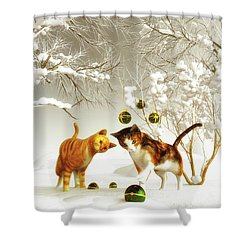 Kittens At Christmas Shower Curtain