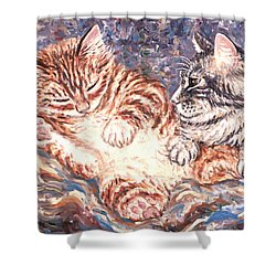 Kittens Sleeping Shower Curtain by Linda Mears