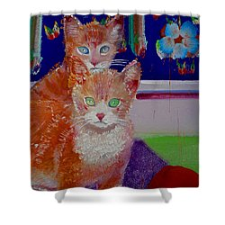 Kittens With Wild Wallpaper Shower Curtain by Charles Stuart