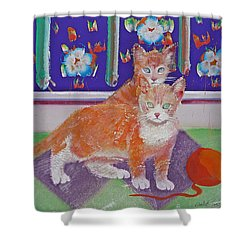 Kittens With Wild Wool Shower Curtain by Charles Stuart