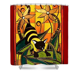 Kitty Bee - Cat Art By Dora Hathazi Mendes Shower Curtain