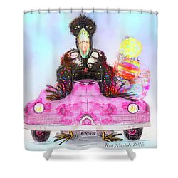 Kitty Car Crow Shower Curtain