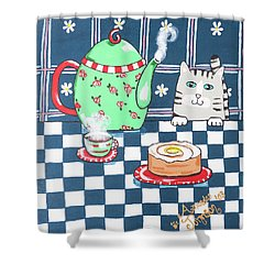 Kitty Cat Tea Time Shower Curtain