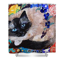 Kitty Goes To Paris Shower Curtain by Robin Maria Pedrero