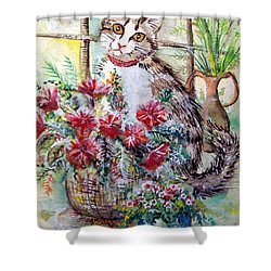 Kitty In The Window Shower Curtain