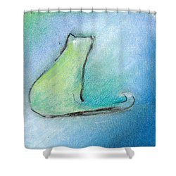 Kitty Reflects Shower Curtain by Valerie Reeves