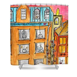 Shower Curtain featuring the painting Kittyscape Hotel by Lou Belcher