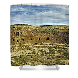 Shower Curtain featuring the photograph Kiva View Chaco Canyon by Kurt Van Wagner