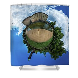 Kleinhans Music Hall At  Symphony Circle - Tiny Planet Shower Curtain