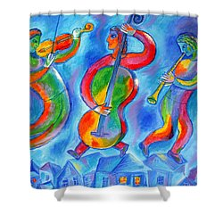 Klezmer On The Roof Shower Curtain by Leon Zernitsky