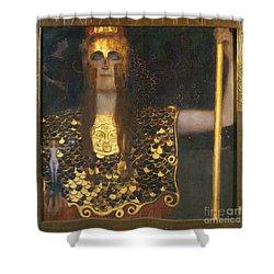 Klimt - Pallas Athena 1898 Shower Curtain by Granger