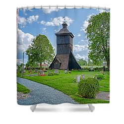 Shower Curtain featuring the photograph Klockstapel - Bell Building by Leif Sohlman