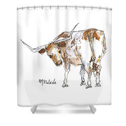 Kmcelwaine Logo Longhorn, Ollie, Texas Longhorn Art Print,watercolor Cow Painting, Whimsical, Shower Curtain by Kathleen McElwaine