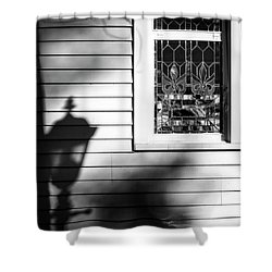 Kneeling Shadow Black And White Shower Curtain