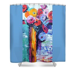 Knife Painted Bouquet Shower Curtain