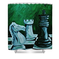 Knight Takes King Shower Curtain by Herschel Fall