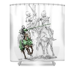 Knight Time - Renaissance Medieval Print Color Tinted Shower Curtain