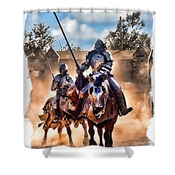 Knights Of Yore Shower Curtain by Tom Schmidt