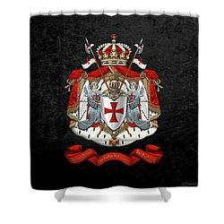 Knights Templar - Coat Of Arms Over Black Velvet Shower Curtain