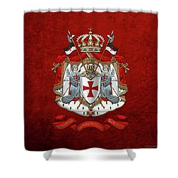 Knights Templar - Coat Of Arms Over Red Velvet Shower Curtain