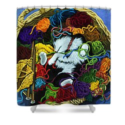 Shower Curtain featuring the painting Knitter's Helper - Cat Painting by Linda Apple