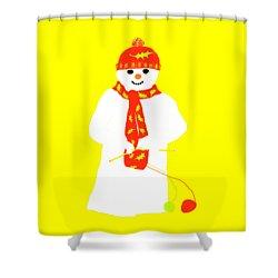 Shower Curtain featuring the digital art Knitting Snowman by Barbara Moignard