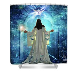 Knocking On Heavens Door Shower Curtain by Dolores Develde