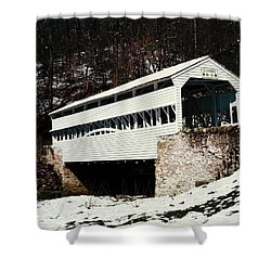Knox Covered Bridge Historical Place Shower Curtain by Sally Weigand