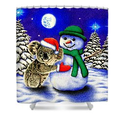 Koala With Snowman Shower Curtain by Remrov