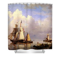 Koekkoek Hermanus Vessels At Anchor In Estuary With Fisherman Shower Curtain