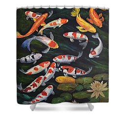 Koi Among The Lily Pads II Shower Curtain