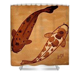 Koi Fish Feng Shui Shower Curtain by Georgeta  Blanaru