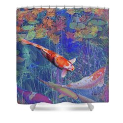 Koi Fish Pond Japanese Tea Garden  Shower Curtain