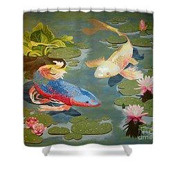 Koi II Shower Curtain by Jennifer  Donald