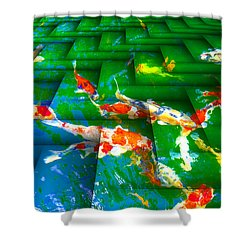 Shower Curtain featuring the digital art Koi Mosaic I by Manny Lorenzo