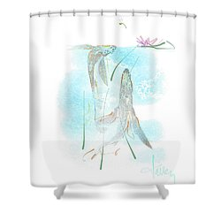 Shower Curtain featuring the mixed media Koi Pond  by Larry Talley