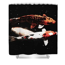 Koi Trio  Shower Curtain by Deborah  Crew-Johnson