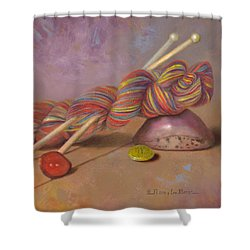 Shower Curtain featuring the painting Koigu Yarn With Buttons by Nancy Lee Moran