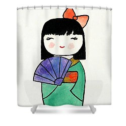 Kokeshi Doll Shower Curtain