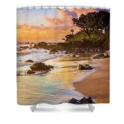 Koki Beach Sunrise Shower Curtain by Inge Johnsson
