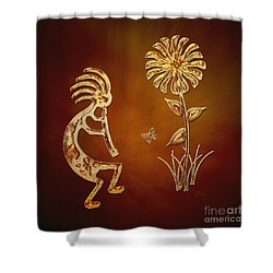 Kokopelli - Flower Serenade Shower Curtain